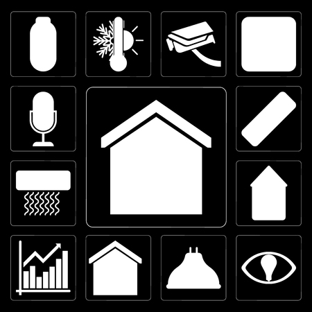 Set Of 13 simple editable icons such as Smart home, Smart, Lightbulb, Chart, Home, Air conditioner, Remote, Voice control on black background