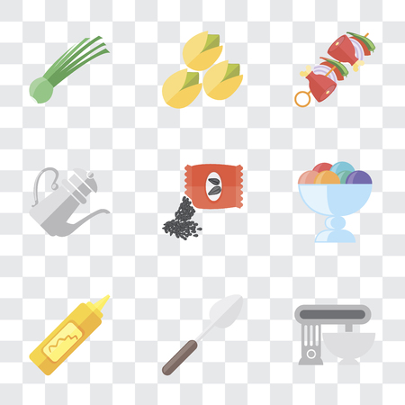 Set Of 9 simple transparency icons such as Mixer, Spoon, Mustard, Ice cream, Seeds, Teapot, Kebab, Pistachio, Chives, can be used for mobile, pixel perfect vector icon pack on transparent background Imagens - 111925650