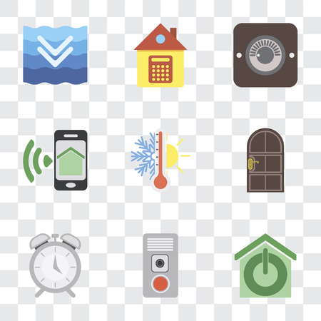 Set Of 9 simple transparency icons such as Smart home, Intercom, Alarm, Door, Thermostat, Smartphone, Dimmer, Home, Deep, can be used for mobile, pixel perfect vector icon pack on transparent