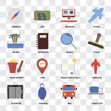 Set Of 16 icons such as Check out, Bus, Luggage, Elevator, Airplane, Compass, Island, Sand bucket, Search on transparent background, pixel perfect