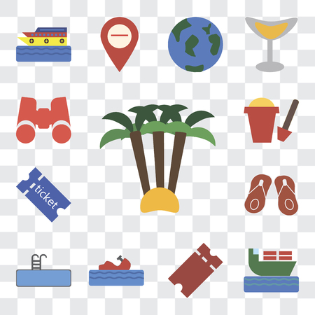 Set Of 13 transparent editable icons such as Palm tree, Ship, Tickets, Water craft, Swimming pool, Flip flops, Sand bucket, Binoculars, web ui icon pack, transparency set