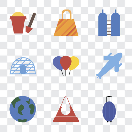 Set Of 9 simple transparency icons such as Luggage, Purse, Travel, Plane, Balloon, Igloo, Oxygen, Bag, Sand bucket, can be used for mobile, pixel perfect vector icon pack on transparent background