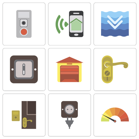 Set Of 9 simple editable icons such as Meter, Plug, Doorbell, Doorknob, Garage, Switch, Deep, Smartphone, Intercom, can be used for mobile, pixel perfect vector icon pack