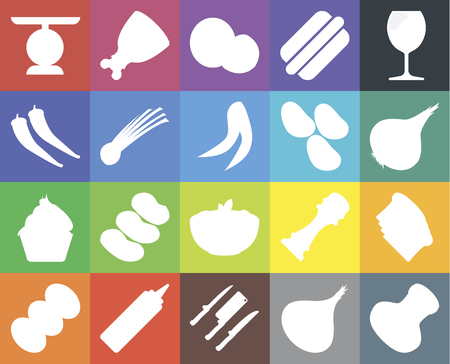Set Of 20 icons such as Salt, Onion, Knives, Mustard, Coffee, Glass, Toast, Pasta, Cupcake, Chives, Potatoes, Scale, Coconut, web UI editable icon pack, pixel perfect
