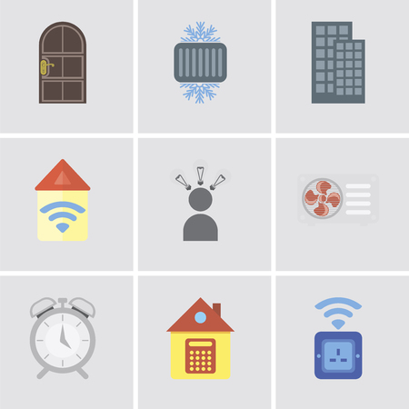 Set Of 9 simple editable icons such as Socket, Home, Alarm, Air conditioner, Smart, Automation, Smart home, Cool, Door, can be used for mobile, pixel perfect vector icon pack
