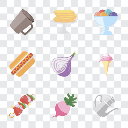Set Of 9 simple transparency icons such as Teapot, Radish, Kebab, Ice cream, Onion, Hot dog, Pancakes, Mug, can be used for mobile, pixel perfect vector icon pack on transparent background Çizim