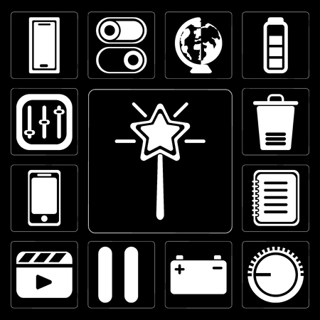 Set Of 13 simple editable icons such as Magic wand, Volume control, Battery, Pause, Video player, Note, Smartphone, Trash, Controls on black background
