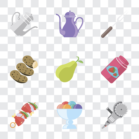 Set Of 9 simple transparency icons such as Grinder, Ice cream, Kebab, Jam, Pear, Potatoes, Fork, Teapot, can be used for mobile, pixel perfect vector icon pack on transparent background