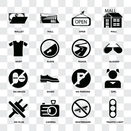 Set Of 16 icons such as Traffic light, Skateboard, Camera, No plug, Girl, Wallet, Shirt, drugs, Roads on transparent background, pixel perfect