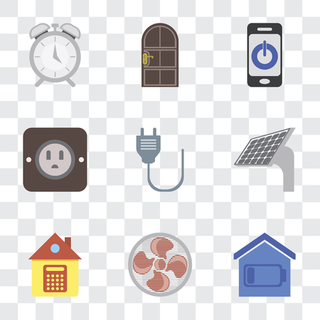 Set Of 9 simple transparency icons such as Smart home, Fan, Home, Panel, Plug, Smartphone, Door, Alarm, can be used for mobile, pixel perfect vector icon pack on transparent background