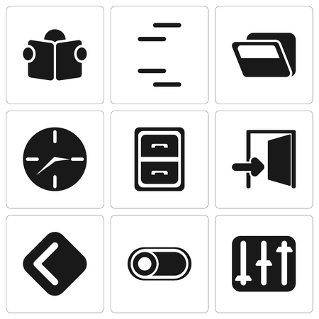 Set Of 9 simple editable icons such as Controls, Switch, Back, Exit, Archive, Clock, Folder, Reading, can be used for mobile, pixel perfect vector icon pack