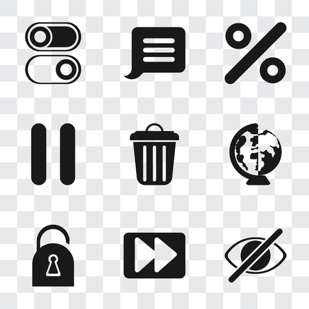 Set Of 9 simple transparency icons such as Hide, Fast forward, Locked, Worldwide, Garbage, Pause, Percent, Notification, Switch, can be used for mobile, pixel perfect vector icon pack on transparent