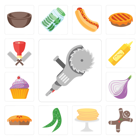 Set Of 13 simple editable icons such as Grinder, Gingerbread, Pancakes, Peas, Pie, Onion, Cupcake, Mustard, Butcher, web ui icon pack