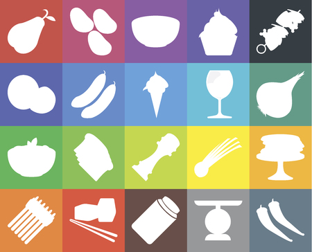 Set Of 20 icons such as Pepper, Scale, Pickles, Sushi, Asparagus, Kebab, Pancakes, Pasta, Cucumber, Glass, Pear, Onion, Bowl, web UI editable icon pack, pixel perfect Ilustração