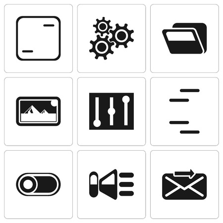Set Of 9 simple editable icons such as Send, Speaker, Switch, Controls, Photos, Folder, Settings, Frame, can be used for mobile, pixel perfect vector icon pack