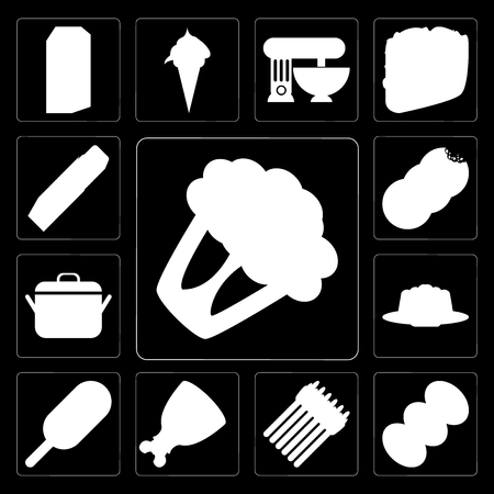 Set Of 13 simple editable icons such as Cauliflower, Coffee, Asparagus, Ham, Ice cream, Jelly, Pot, Cookies, Butter on black background Standard-Bild - 111925681