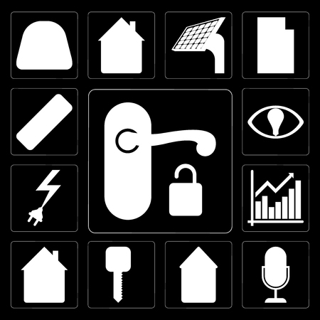 Set Of 13 simple editable icons such as Handle, Voice control, Home, Smart key, Chart, Power, Smart, Remote on black background Stock Illustratie