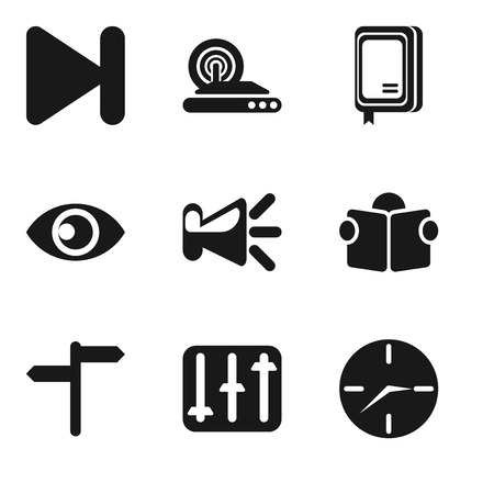 Set Of 9 simple editable icons such as Clock, Controls, Reading, Speaker, View, Notebook, Wireless internet, Next, can be used for mobile, pixel perfect vector icon pack