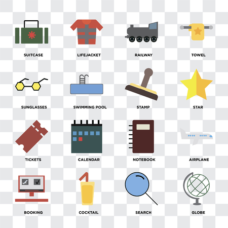 Set Of 16 icons such as Globe, Search, Cocktail, Booking, Airplane, Suitcase, Sunglasses, Tickets, Stamp on transparent background, pixel perfect
