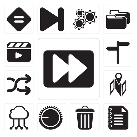 Set Of 13 simple editable icons such as Fast forward, Notepad, Garbage, Volume control, Cloud computing, Map, Shuffle, , Video player, web ui icon pack