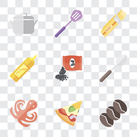 Set Of 9 simple transparency icons such as Coffee, Pizza, Octopus, Spoon, Seeds, Mustard, Butter, Spatula, Pot, can be used for mobile, pixel perfect vector icon pack on transparent background