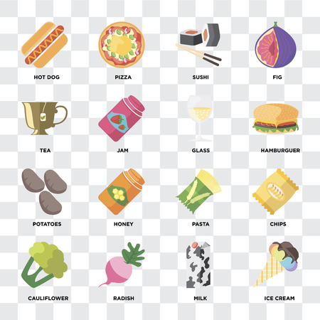 Set Of 16 icons such as Ice cream, Milk, Radish, Cauliflower, Chips, Hot dog, Tea, Potatoes, Glass on transparent background, pixel perfect
