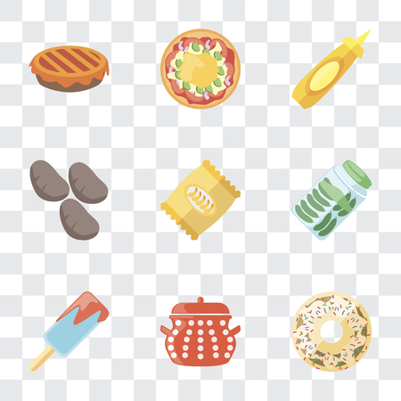 Set Of 9 simple transparency icons such as Doughnut, Pot, Ice cream, Pickles, Chips, Potatoes, Mustard, Pizza, Pie, can be used for mobile, pixel perfect vector icon pack on transparent background