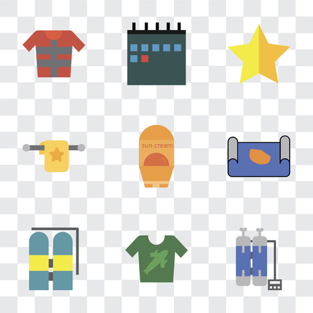 Set Of 9 simple transparency icons such as Oxygen tank, Shirt, Aqualung, Map, Sun protection, Towel, Star, Calendar, Lifejacket, can be used for mobile, pixel perfect vector icon pack on transparent