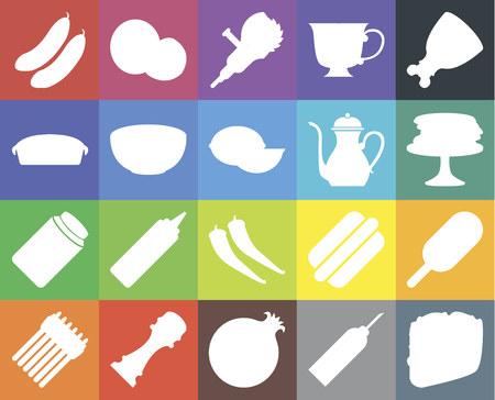 Set Of 20 icons such as Taco, Oil, Pomegranate, Pepper, Asparagus, Ham, Ice cream, Pickles, Bowl, Teapot, Cucumber, Pancakes, Grinder, web UI editable icon pack, pixel perfect Çizim