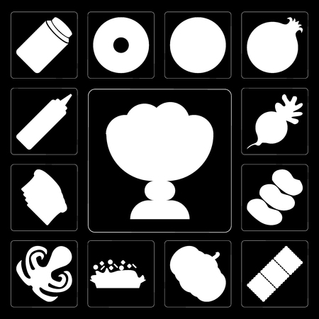 Set Of 13 simple editable icons such as Ice cream, Biscuit, Pumpkin, Risotto, Octopus, Potatoes, Toast, Radish, Mustard on black background Çizim