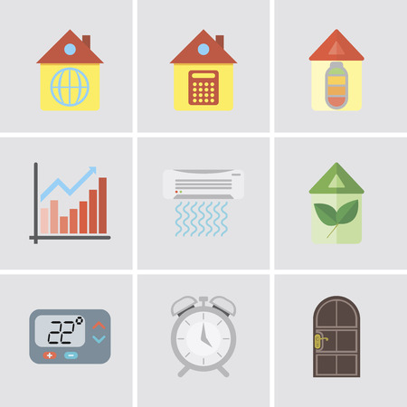 Set Of 9 simple editable icons such as Door, Alarm, Thermostat, Eco home, Air conditioner, Chart, Home, can be used for mobile, pixel perfect vector icon pack