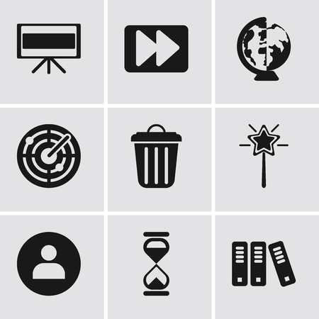Set Of 9 simple editable icons such as Archive, Hourglass, User, Magic wand, Garbage, Radar, Worldwide, Fast forward, Television, can be used for mobile, pixel perfect vector icon pack Illustration