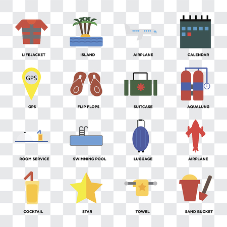 Set Of 16 icons such as Sand bucket, Towel, Star, Cocktail, Airplane, Lifejacket, Gps, Room service, Suitcase on transparent background, pixel perfect
