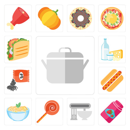 Set Of 13 simple editable icons such as Pot, Jam, Mixer, Jawbreaker, Pasta, Hot dog, Seeds, Dairy, Taco, web ui icon pack