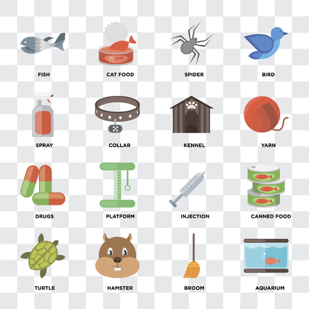 Set Of 16 icons such as Aquarium, Broom, Hamster, Turtle, Canned food, Fish, Spray, Drugs, Kennel on transparent background, pixel perfect Foto de archivo - 111925700