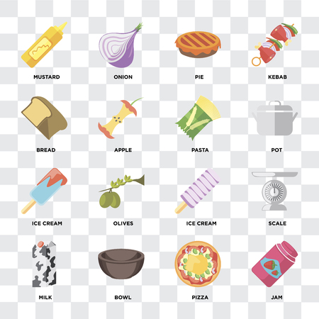 Set Of 16 icons such as Jam, Pizza, Bowl, Milk, Scale, Mustard, Bread, Ice cream, Pasta on transparent background, pixel perfect Stock Illustratie