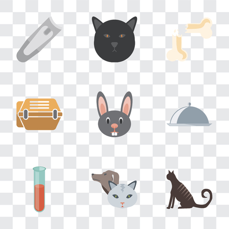 Set Of 9 simple transparency icons such as Cat, Pet, Test tube, Food, Rabbit, Animal carrier, Bone, Nail clippers, can be used for mobile, pixel perfect vector icon pack on transparent Illustration