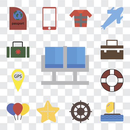 Set Of 13 transparent editable icons such as Waiting room, Parasailing, Helm, Starfish, Balloon, Lifebuoy, Gps, Suitcase, web ui icon pack, transparency set Illustration