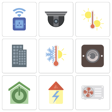 Set Of 9 simple editable icons such as Air conditioner, Home, Smart home, Dimmer, Thermostat, Temperature, Security camera, Socket, can be used for mobile, pixel perfect vector icon pack