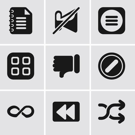 Set Of 9 simple editable icons such as Shuffle, Rewind, Infinity, Forbidden, Dislike, Menu, Muted, Notepad, can be used for mobile, pixel perfect vector icon pack