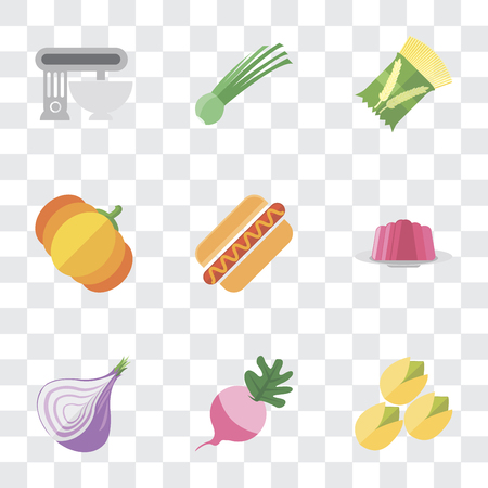 Set Of 9 simple transparency icons such as Pistachio, Radish, Onion, Jelly, Hot dog, Pumpkin, Pasta, Chives, Mixer, can be used for mobile, pixel perfect vector icon pack on transparent background