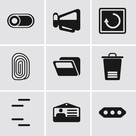 Set Of 9 simple editable icons such as More, Id card, Trash, Folder, Fingerprint, Restart, Megaphone, Switch, can be used for mobile, pixel perfect vector icon pack