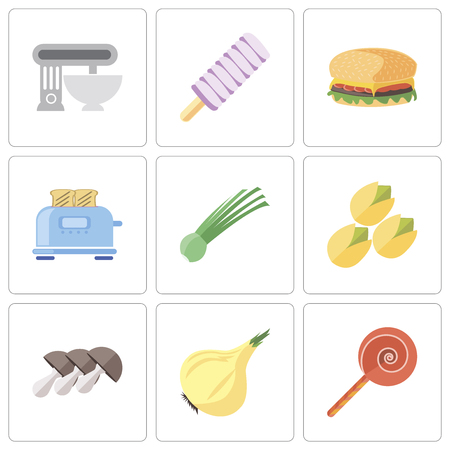 Set Of 9 simple editable icons such as Jawbreaker, Onion, Mushrooms, Pistachio, Chives, Toaster, Hamburguer, Ice cream, Mixer, can be used for mobile, pixel perfect vector icon pack