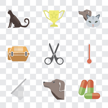 Set Of 9 simple transparency icons such as Drugs, Dog, Net, Thermometer, Scissors, Animal carrier, Pet, Trophy, Cat, can be used for mobile, pixel perfect vector icon pack on transparent background