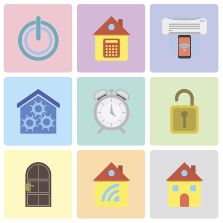 Set Of 9 simple editable icons such as Home, Door, Unlock, Alarm, Smart home, Air conditioner, Power, can be used for mobile, pixel perfect vector icon pack