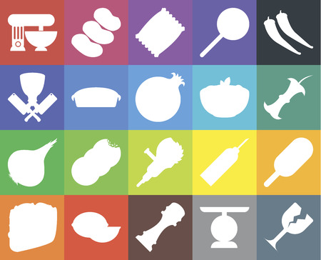 Set Of 20 icons such as Glass, Scale, Pepper, Lime, Taco, Ice cream, Grinder, Onion, Pie, Pasta, Mixer, Apple, Chips, web UI editable icon pack, pixel perfect