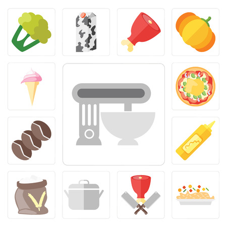 Set Of 13 simple editable icons such as Mixer, Risotto, Butcher, Pot, Flour, Mustard, Coffee, Pizza, Ice cream, web ui icon pack
