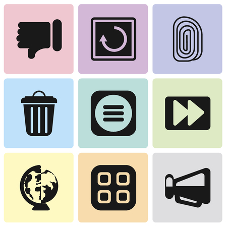 Set Of 9 simple editable icons such as Megaphone, Menu, Worldwide, Fast forward, Garbage, Fingerprint, Restart, Dislike, can be used for mobile, pixel perfect vector icon pack