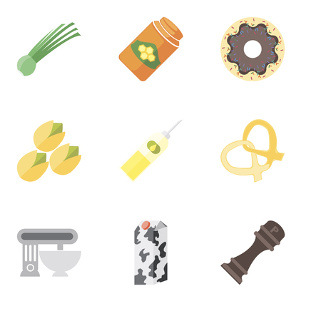Set Of 9 simple editable icons such as Pepper, Milk, Mixer, Pretzel, Oil, Pistachio, Doughnut, Honey, Chives, can be used for mobile, pixel perfect vector icon pack