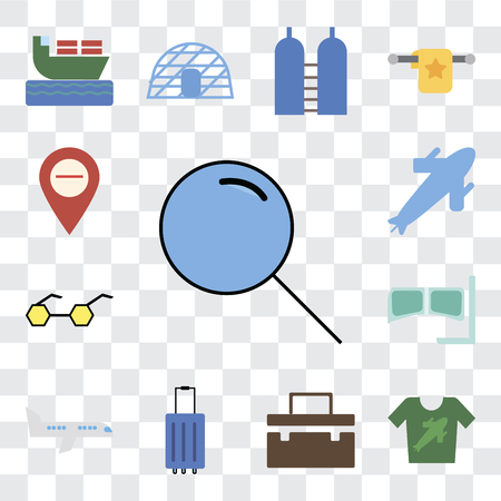 Set Of 13 transparent editable icons such as Search, Shirt, Suitcase, Luggage, Airplane, Snorkel, Sunglasses, Plane, Map, web ui icon pack, transparency set